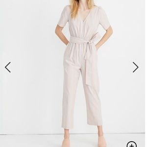 Madewell Striped Puff-Sleeve Tapered Jumpsuit